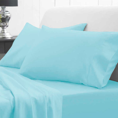 Waterproof Bed Sheet - Fitted - Sky Blue - Beautifully Soft & Comfortable - Platinum Health & Beauty