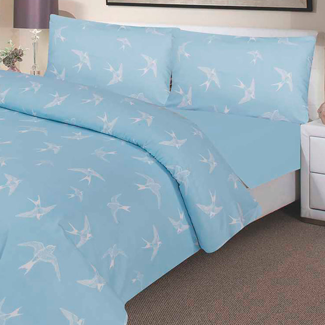 Waterproof Duvet Set - 100 % Waterproof - Blue Swallow Design - Beautifully Soft and Comfortable - Platinum Health & Beauty