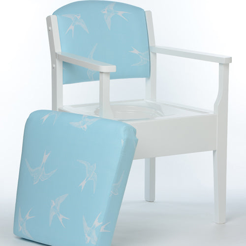 LUXURY Blue Swallow Occasional Chair Commode