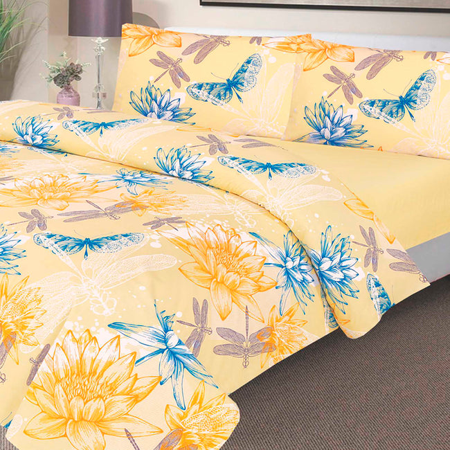 Waterproof Duvet Set - 100 % Waterproof - Yellow Water Lily Design - Platinum Health & Beauty