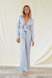 Bella Satin Pant in Ice Blue