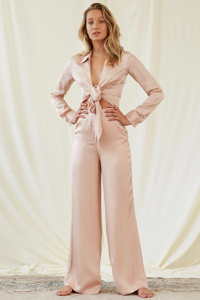 Bella Satin Pant in Champagne