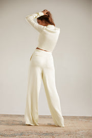 Bella Satin Pant in Ecru