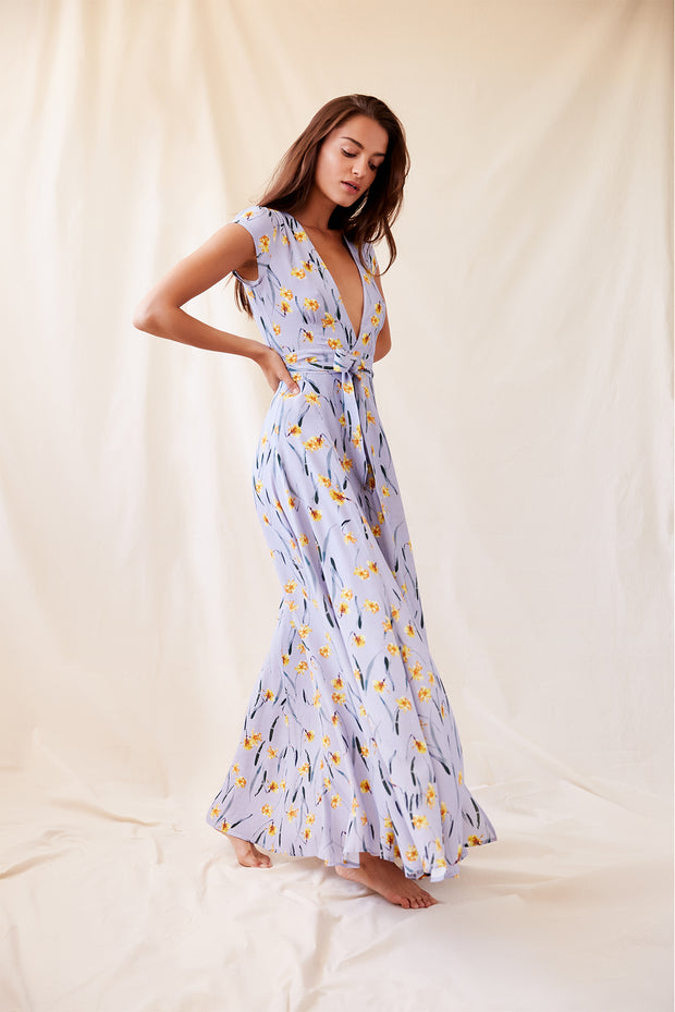 Stella Wrap Dress in Blue Daffodil