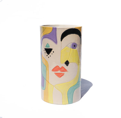 Handmade Pottery Ceramic Face Vase - Tall - Lux Eros