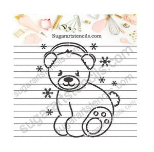 Christmas PYO cookie stencil Polar bear paint your own cookie NL0079