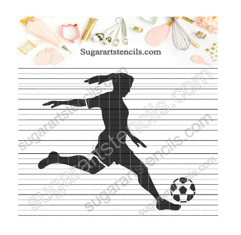 Girl Soccer player sport Stencil ST00233