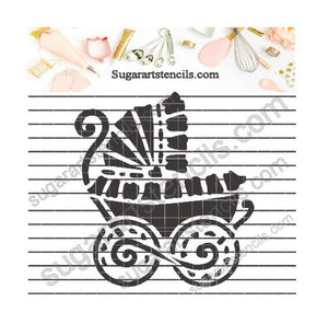 Baby stroller new born shower cookie stencil   NB1178