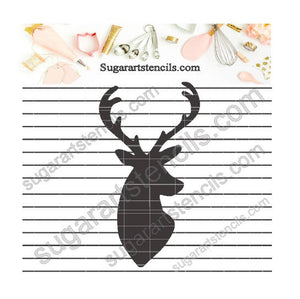 Deer head buck shabby chic cookie stencil NB300158