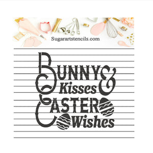 Easter bunny kisses Easter wishes stencil NB60023