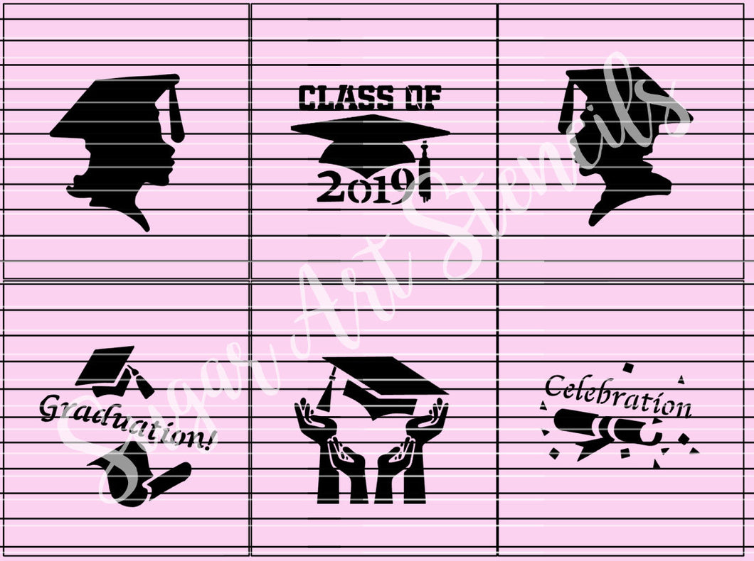 Graduation 2019 stencils set of 6  SL2012