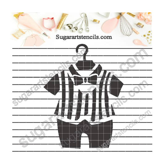 Baby boy outfit cookie stencil baby shower NB90087