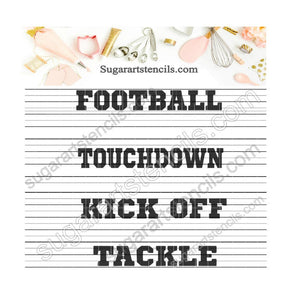 Football sport words Touchdown cookie Stencil ST00189