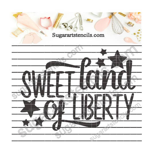 Cookie stencil Sweet land of liberty july 4th cookie decorating  NB70055