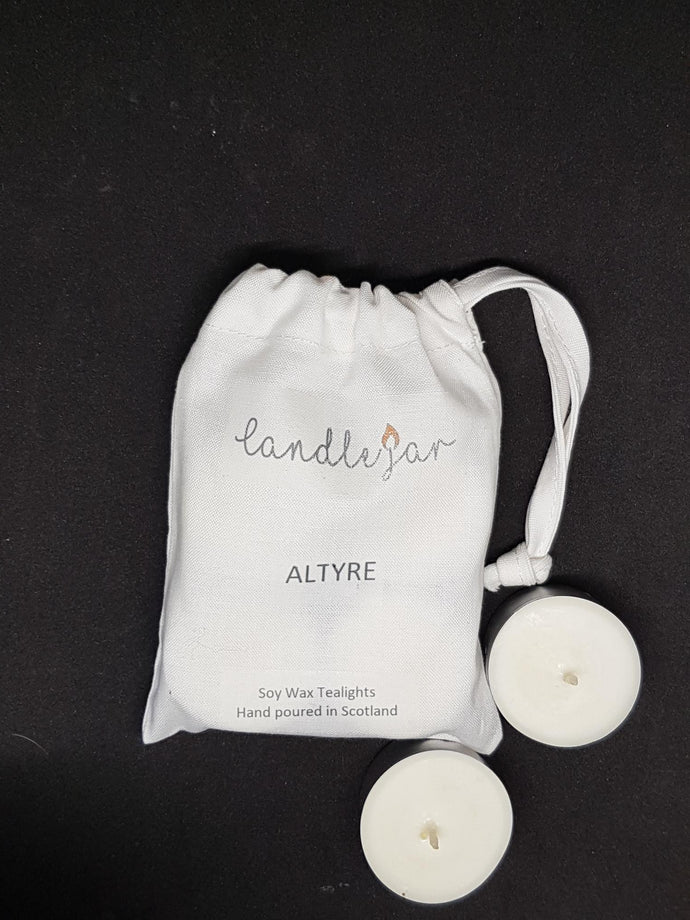 white canvas bag of Candle Jar soy wax Altyre scented tealights