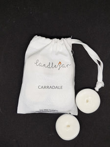 white canvas bag of Candle Jar own range of soy wax Carradale scented tealights