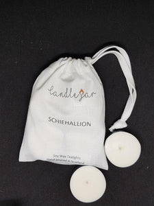white canvas bag of soy wax tealights by Candle Jar, Schiehallion scent