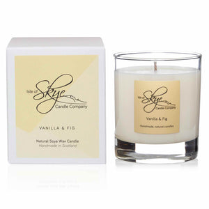 large glass tumbler with white candle Vanilla & Fig Scent