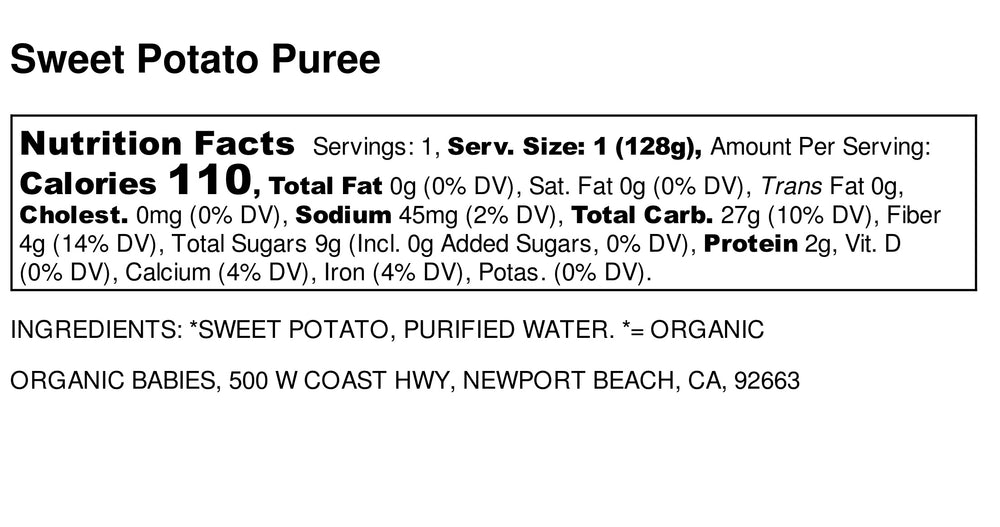 Sweet Potato Puree: 4.5oz