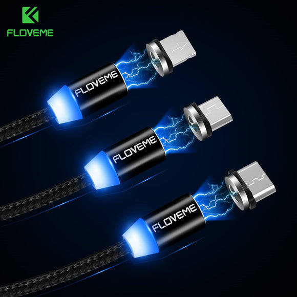 Magnetic Cable 1M Braided Mobile LED Type C, Micro USB, Apple Lighting Magnet Charger Cable