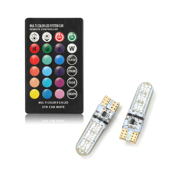 2 Pieces T10 W5W LED RGB With Remote Control For Side Lights, Head Lights