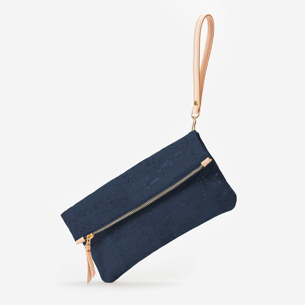 GiGi Versatile Cork Clutch - Navy Blue