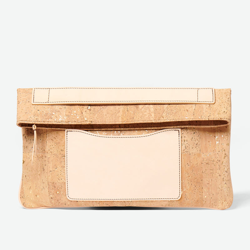 Melvia cork clutch - Paula Parisotto - Gold Natural cork