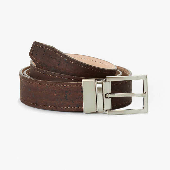 Lee Reversible Unisex Cork Belt - Chocolate Brown