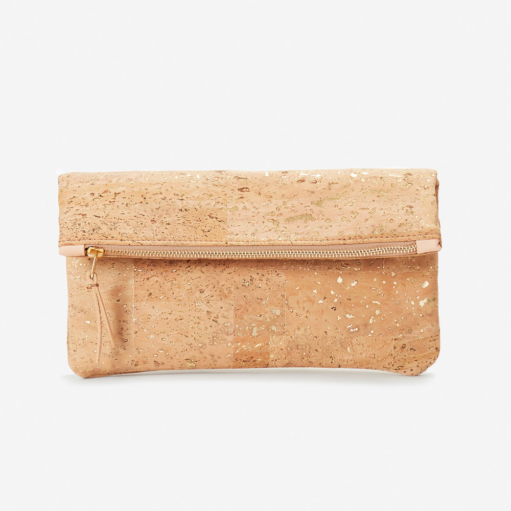 GiGi Versatile Cork Clutch - Natural with Gold Fleck