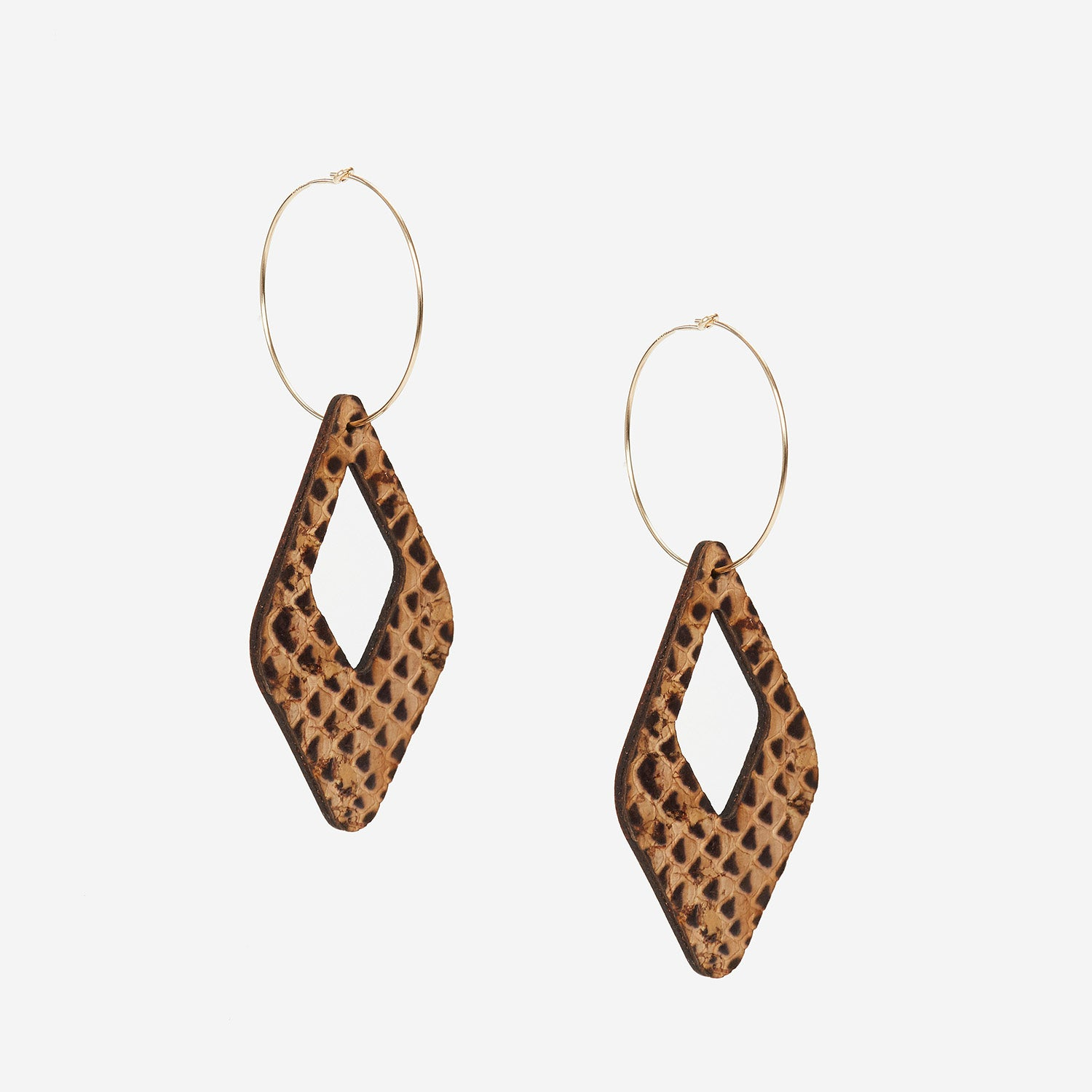 Remi Reversible Cork Earrings – Open Diamond