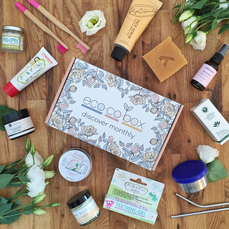 An ecocobox surrounded by products and accessories from ethical, vegan friendly brands. This image shows the types of things mummy could receive as part of her subscription, whether it is the perfect gift from a loved one or to herself.