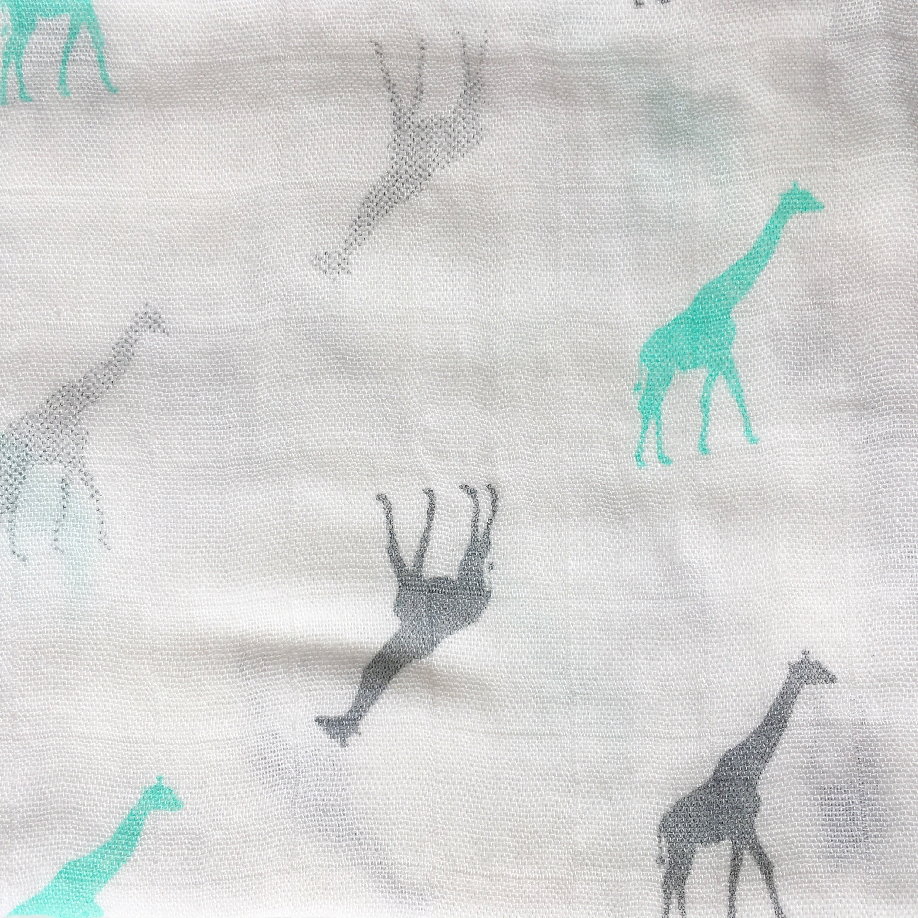Natural Bamboo Muslin for baby, burp cloth, mussy, muslin square, green giraffe, unisex, bamboo and grey