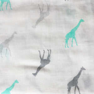 Bamboo Muslin Square - Bamboo and Grey - multibuy offer
