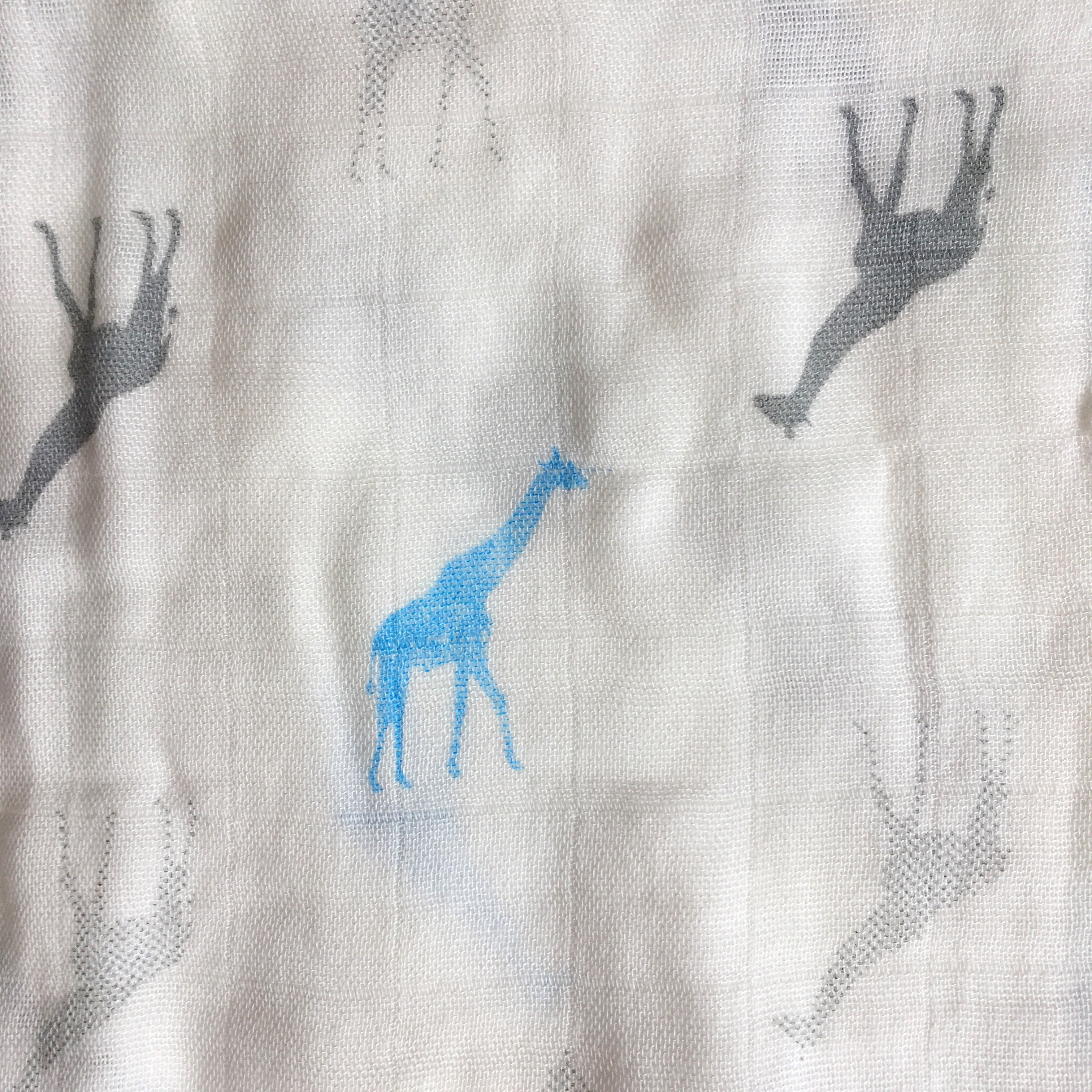Natural Bamboo Muslin for baby, burp cloth, mussy, muslin square, blue giraffe, bamboo and grey