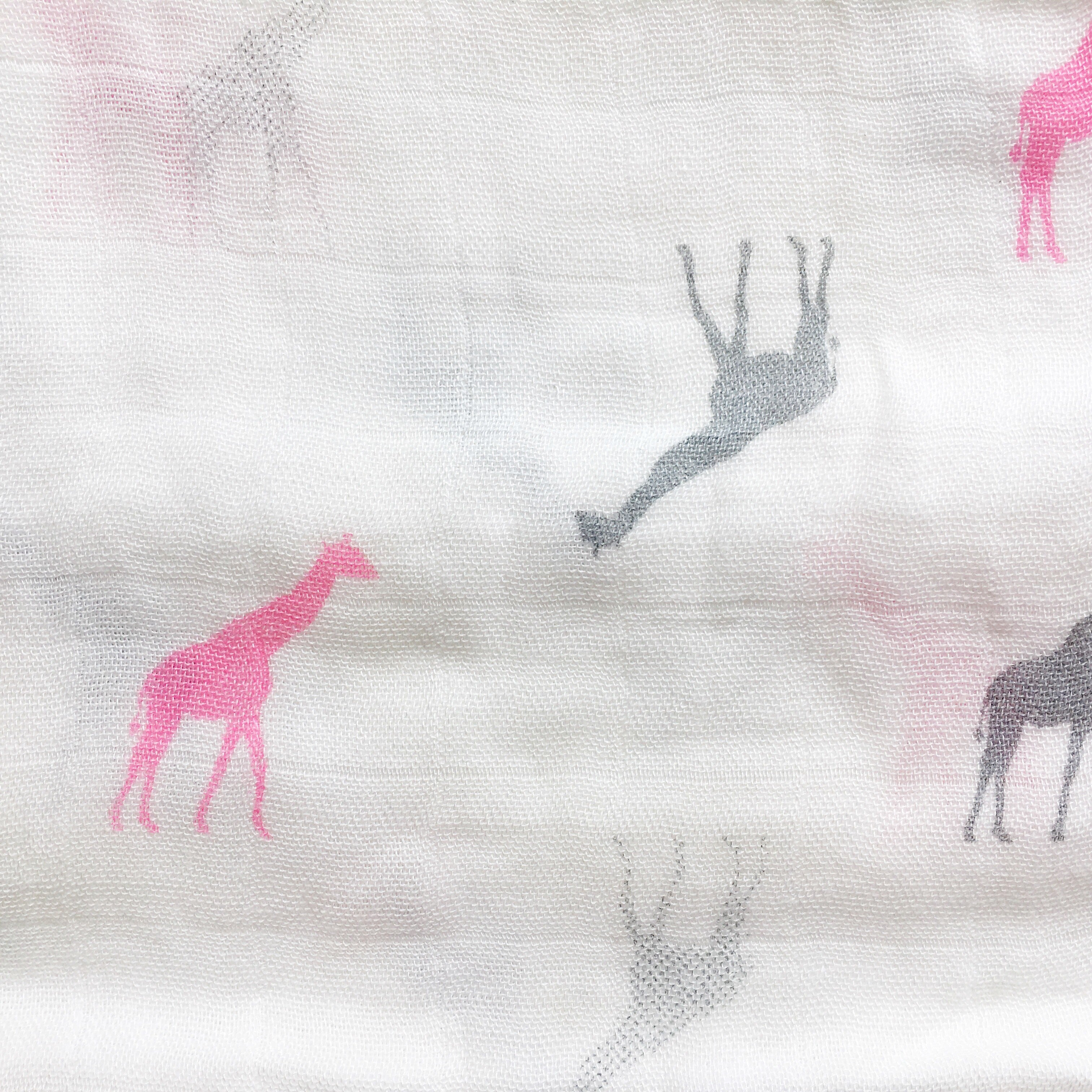 Natural Bamboo Muslin for baby, burp cloth, mussy, muslin square, pink giraffe, bamboo and grey