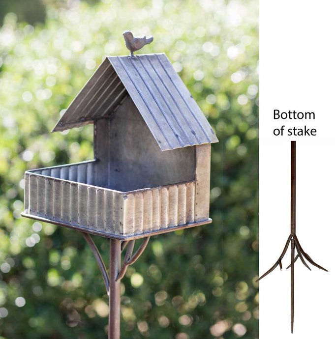 Open Cottage Bird Feeder Garden Stake