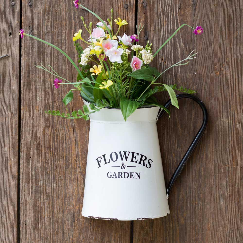 Flowers and Garden Pitcher Wall Container