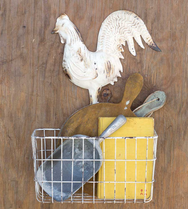 White Rooster Wall Basket