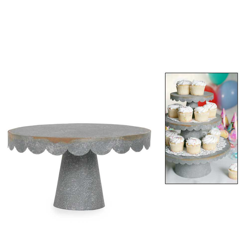 Small Scalloped Cupcake Stand - Barn Roof Set of 2