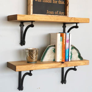 Floating Wood Shelf and Williamsburg Iron Brackets