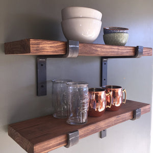 "10"" Depth Fixer Upper Style Industrial Floating Shelves"