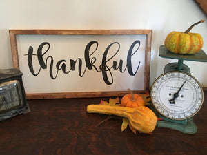 Thankful Sign, Fall Decoration, Farmhouse Decor, Thanksgiving Decor, Rustic Wood Sign, Mantle Decor, Thankful Wood Sign,