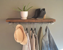 Clothing Display Rack With Floating Shelf, Industrial Retail Fixture, Retail Display, Farmhouse Style Clothing Organization, Wall Fixture