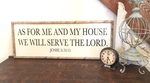 As For Me and My House Sign, Christian Scripture Sign, Rustic Sign, Farmhouse Wood Sign, Wood Christian Sign, Wedding Gift,