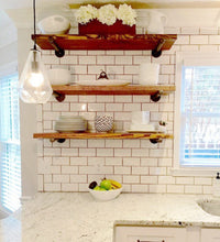 "Industrial Floating Shelves, 12"" Depth Book Shelf, Open Kitchen Shelves, Bathroom Storage & Organization"