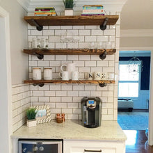 "Industrial Floating Shelves, Set of 3 Open Kitchen Shelves, 12"" Depth Pipe Shelves, Industrial Shelving, Open Shelving"