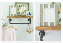 Industrial Floating Pipe Shelf with Towel Rack - Multi Use Shelf with Hanging Bar