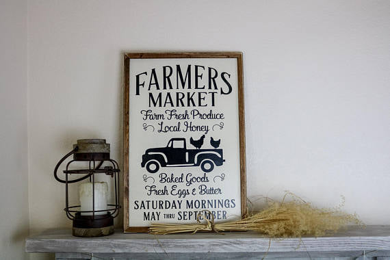 Farmers Market Sign, Wooden Farmhouse Signs, Fresh Produce Sign, Kitchen Sign, Farmhouse Sign, Wood Sign, Farmhouse, Framed Wood Sign,