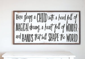 Farmhouse Wood Sign | Here Sleeps A Child With Magical Dreams | Farmhouse Design | Nursery Decor | Kids Room Decor | Farmhouse Nursery