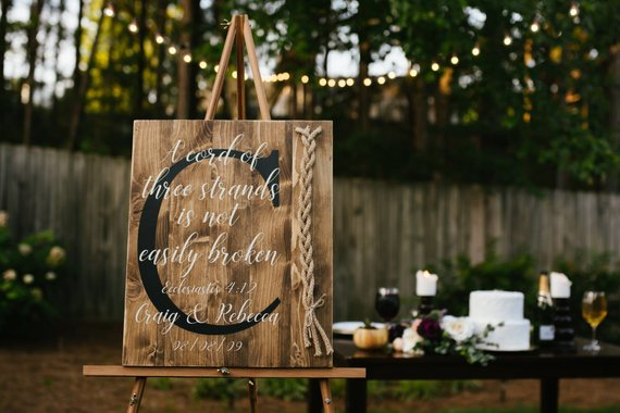 A Cord of Three Strands Sign | Ecclesiastes 4:9-12 | Alternative Unity Candle | Unity Cord Wedding Sign | Strands of Three Cords Sign